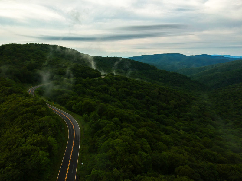 aerial view of Cherohala Skyway