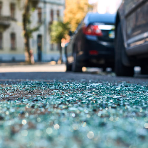 debris on the road after a car accident in Nashville, TN