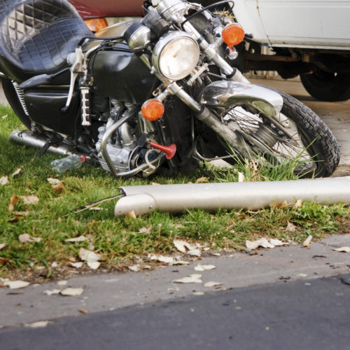damaged motorcycle after an accident in Nashville, TN